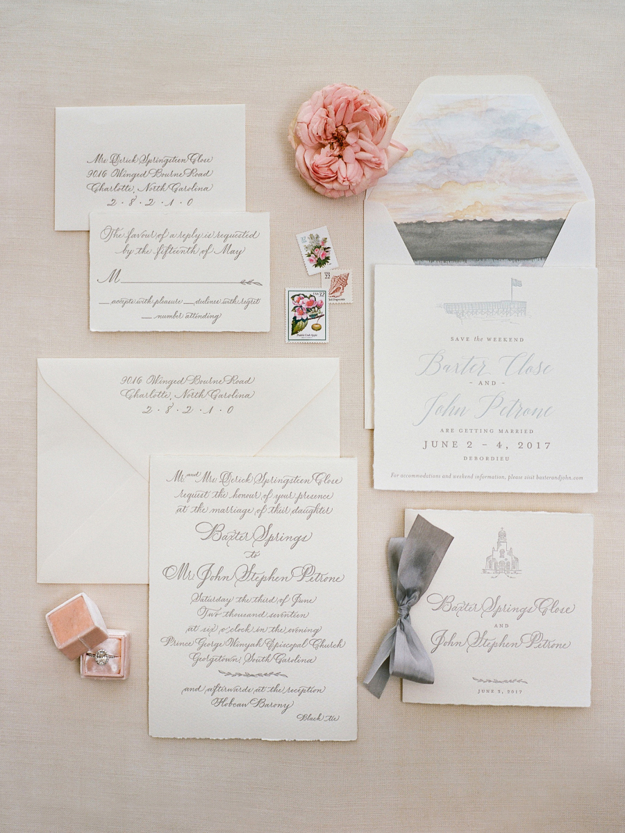 traditional white grey wedding invitations