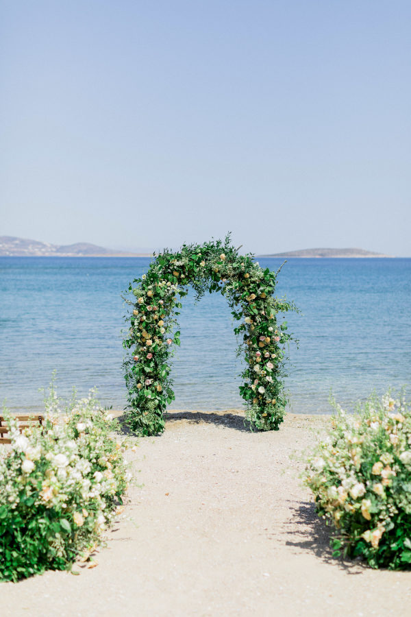 beach wedding floral arbor