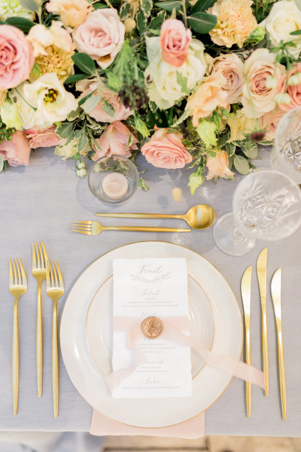 pink and peach wedding place setting