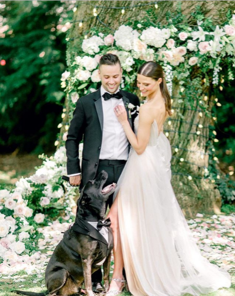 bride and groom with dog in bowtie, pin-worthy