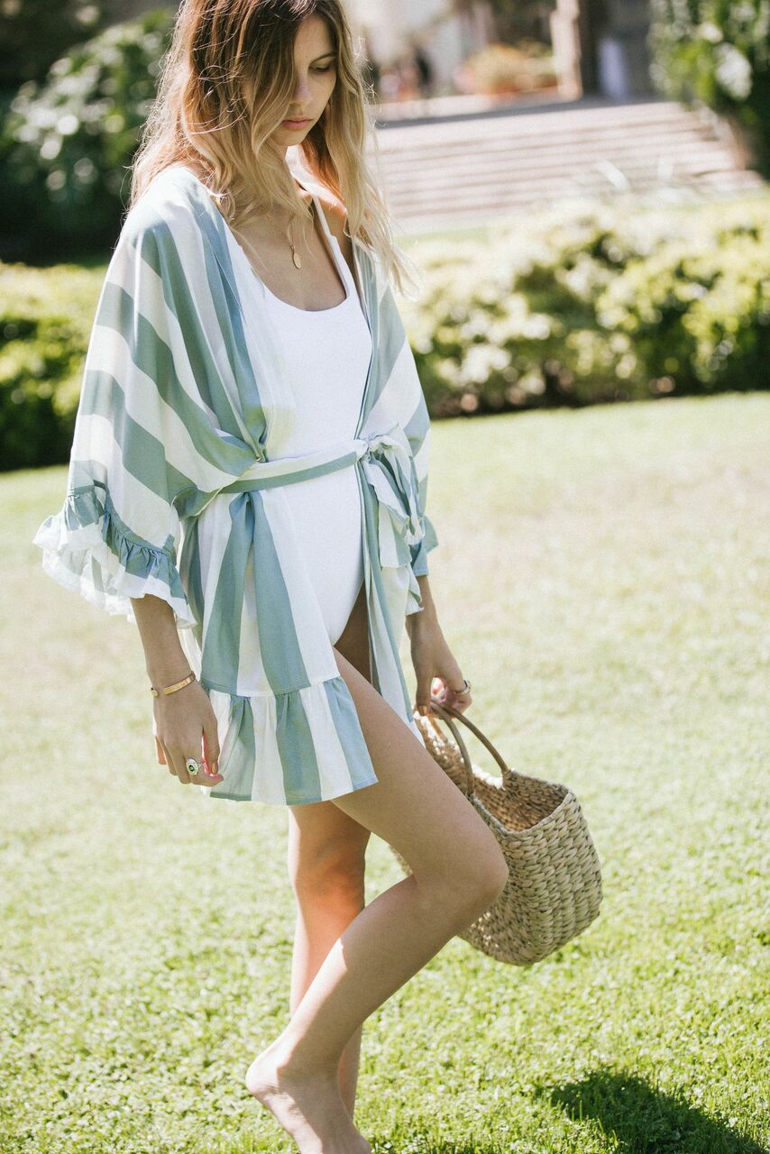 striped bridesmaids robe and pool coverup