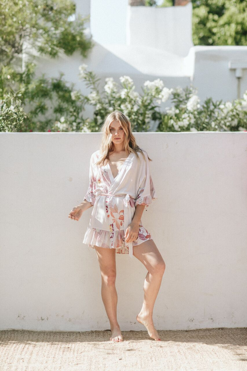 floral robes with ruffle detail