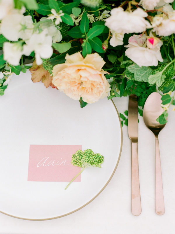 garden bridal shower place setting