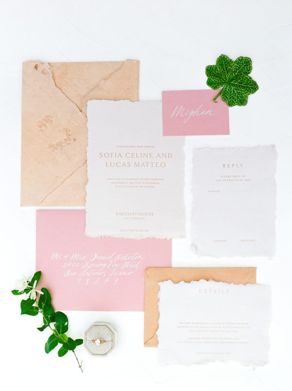 pink and peach wedding invitations