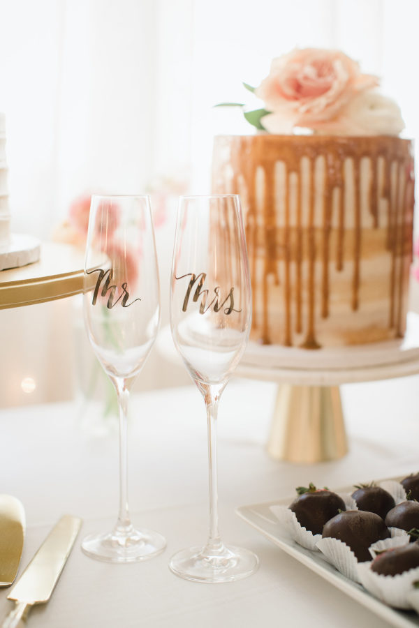 mr and mrs champagne flute