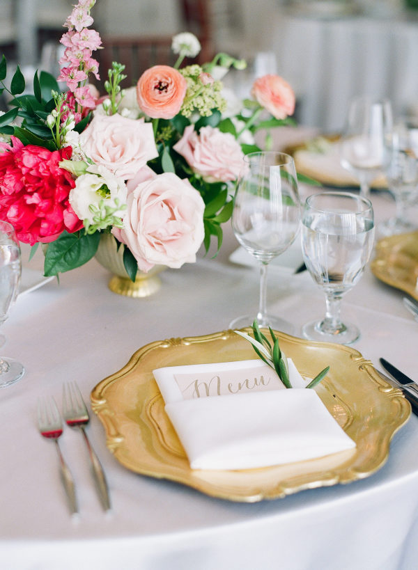 gold, red and pink wedding reception table