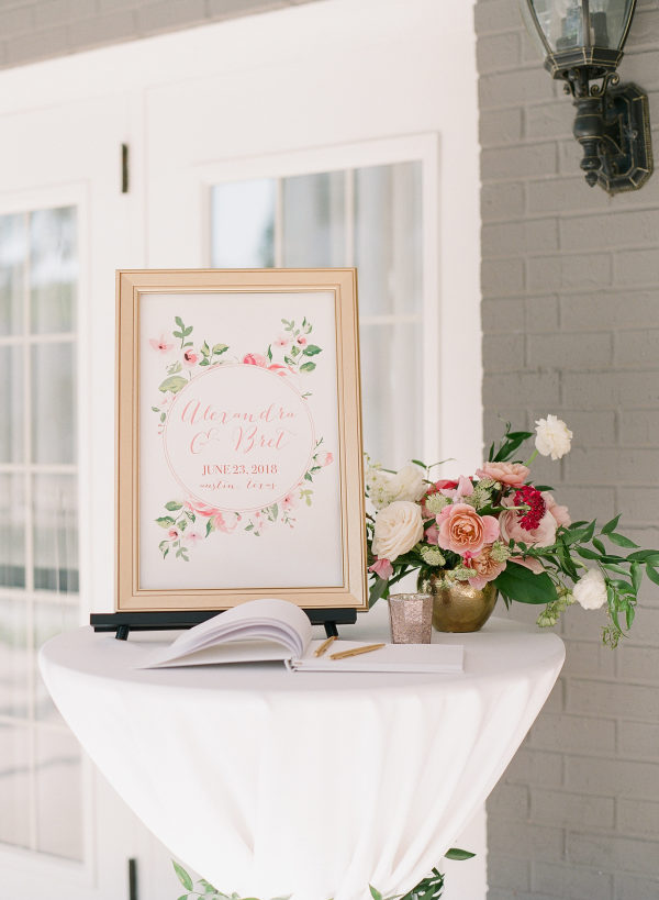 wedding guest book table and sign