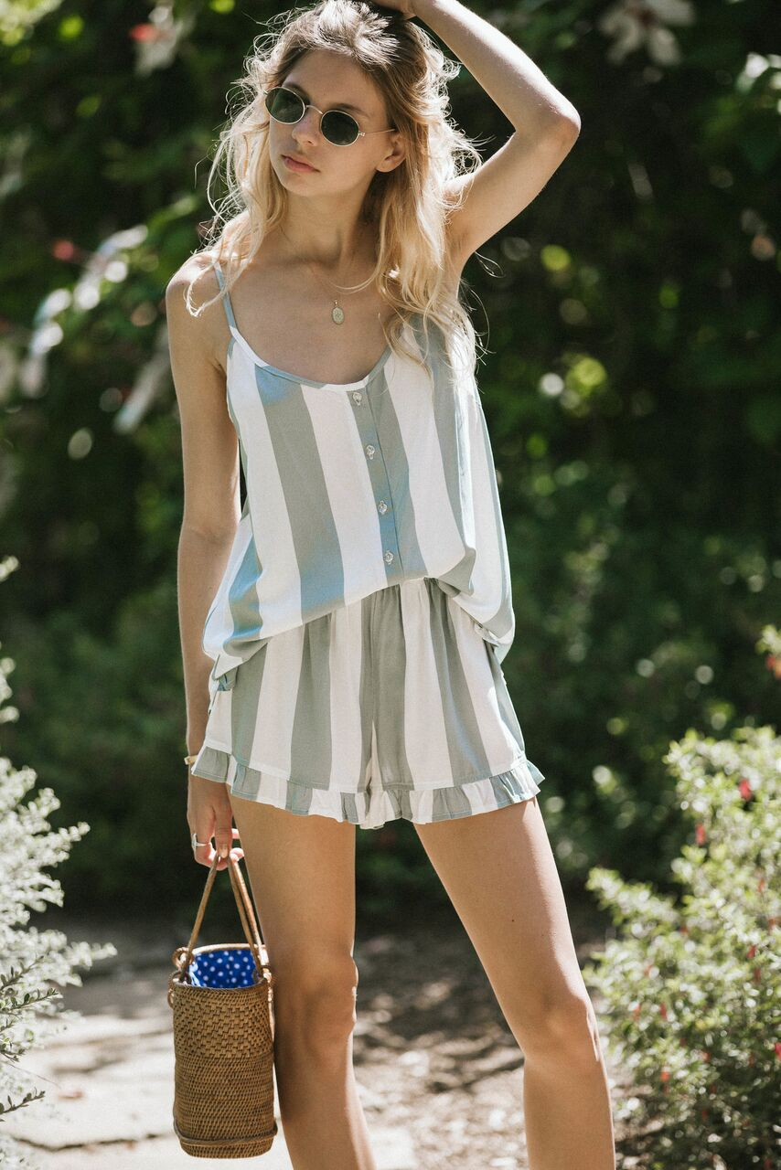 striped romper with flutter shorts