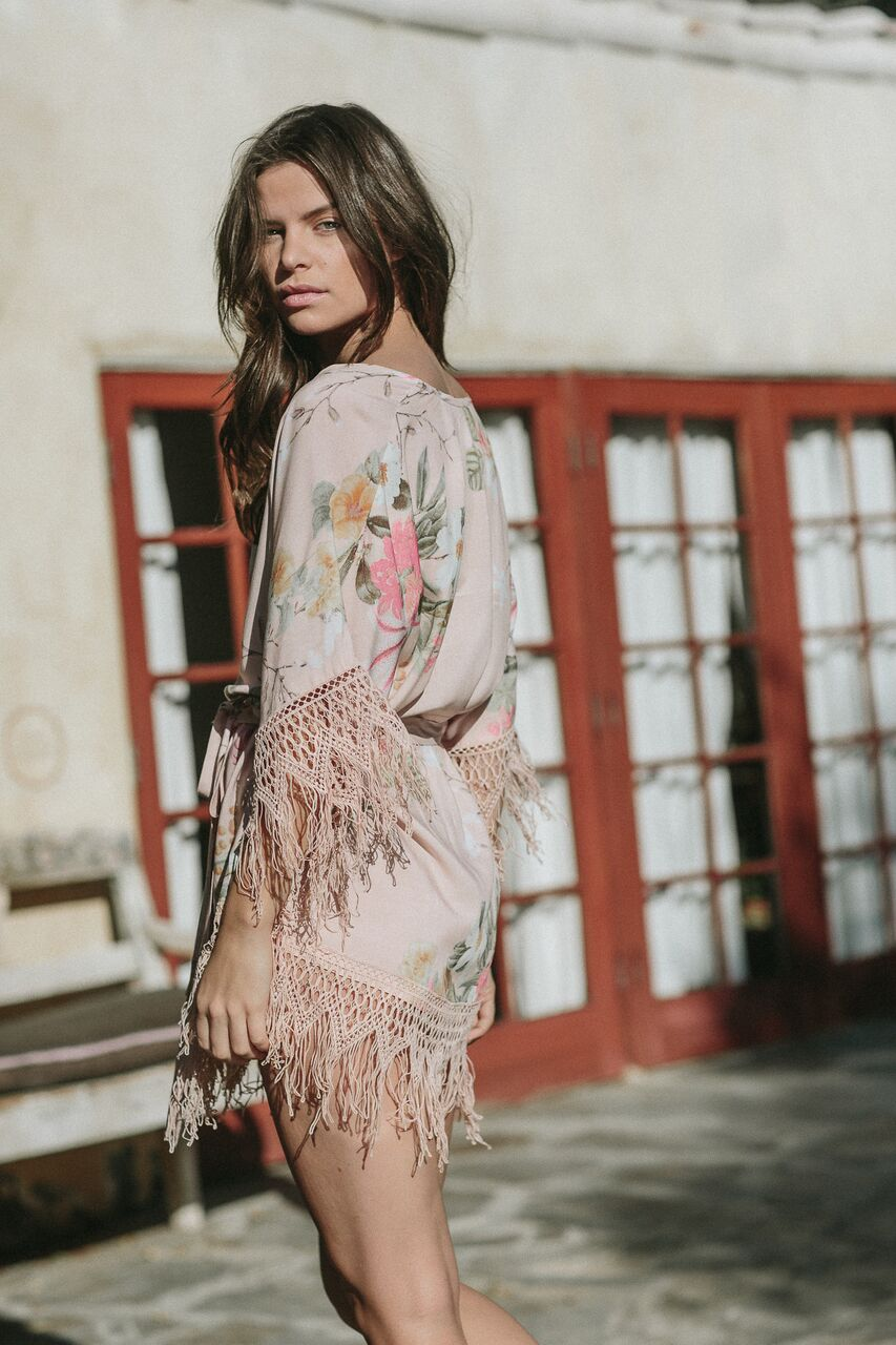 pink floral beach cover-up with fringe