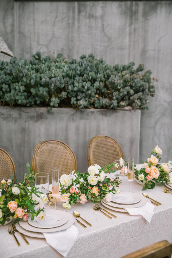 white and peach wedding reception flowers