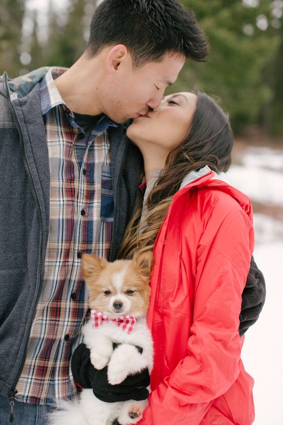winter engagement session with dog | It Girl Weddings