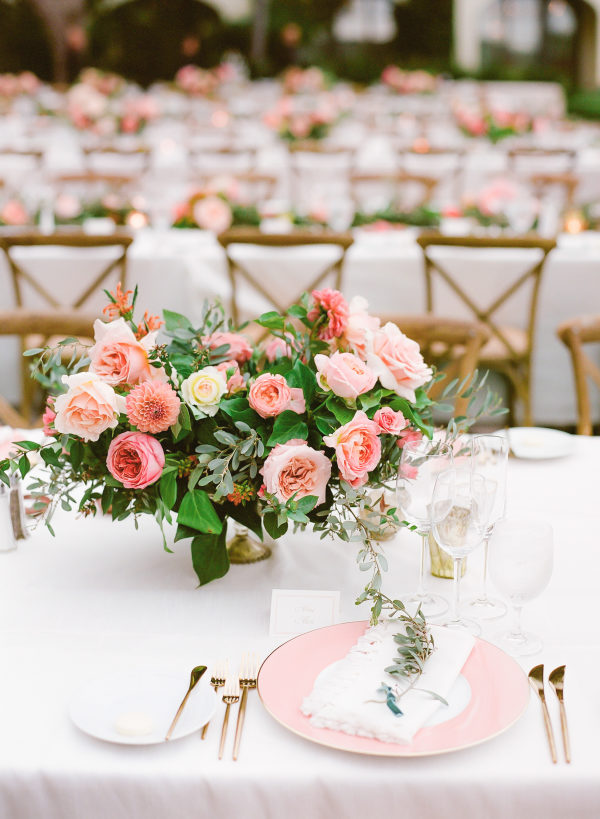 outdoor wedding kings tables with peach peonies bouquets