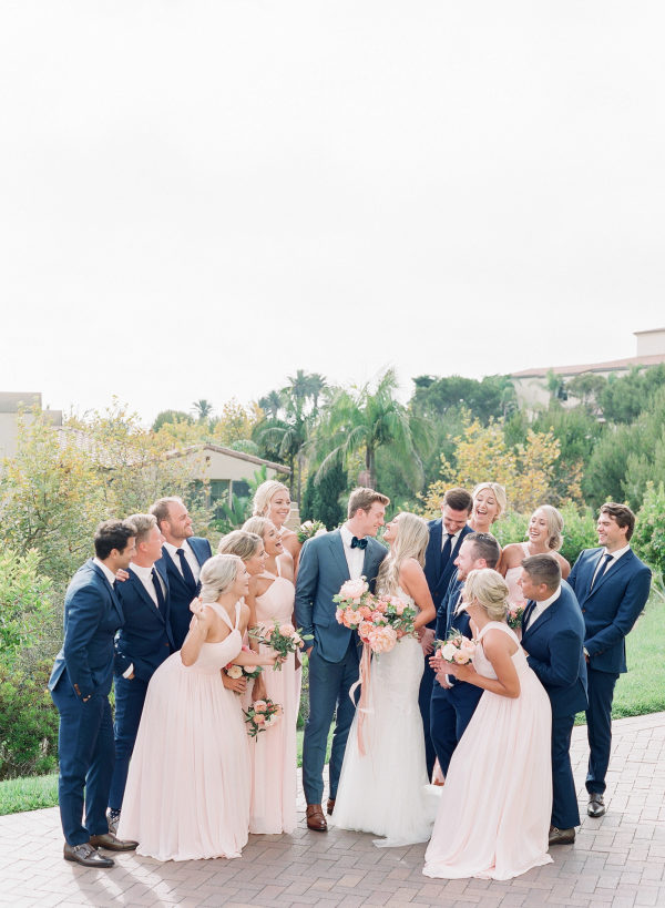 navy groomsmen and pink bridesmaids dresses