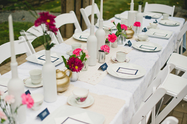 Mad Tea Party Table Setting With Kettles Menu Cards And