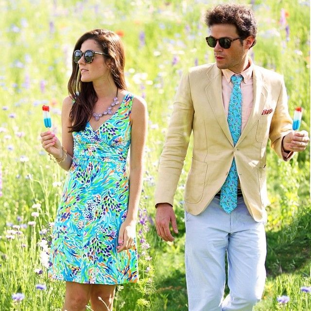 Wearing Preppy Wedding Attire In Lilly Pulitzer Outdoors Holding Popsicles