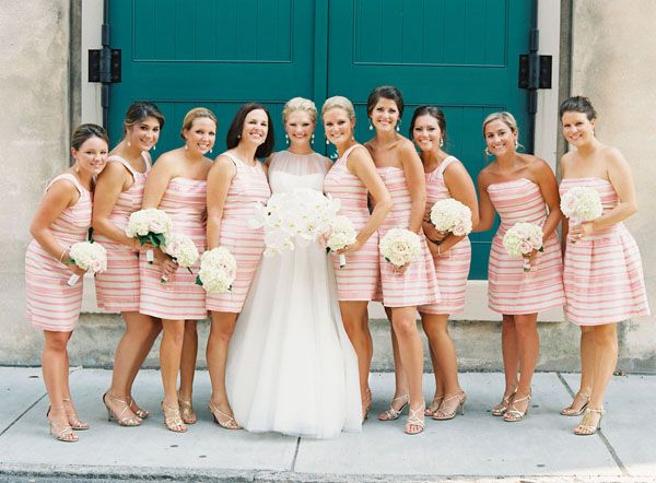 Bridesmaids In Pink And White Lilly Pulitzer Dresses
