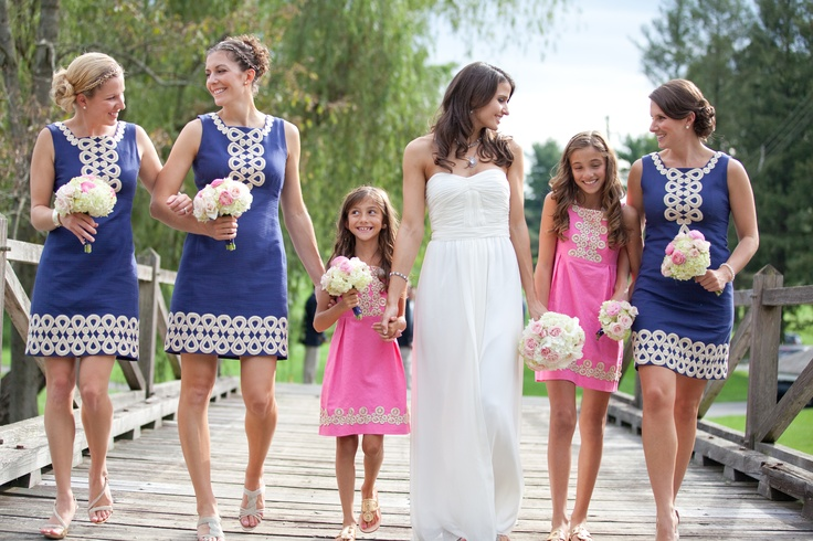 Bride With Bridesmaids And Flower S In Lilly Pulitzer Navy Pink Dresses