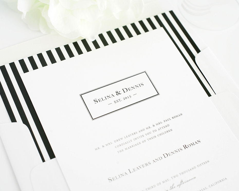 Black And White Stripe Wedding Invitations