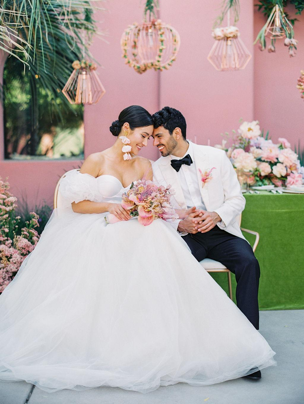 pink and green tropical wedding with hanging floral copper lanterns https://shopstyle.it/l/bhiqp
