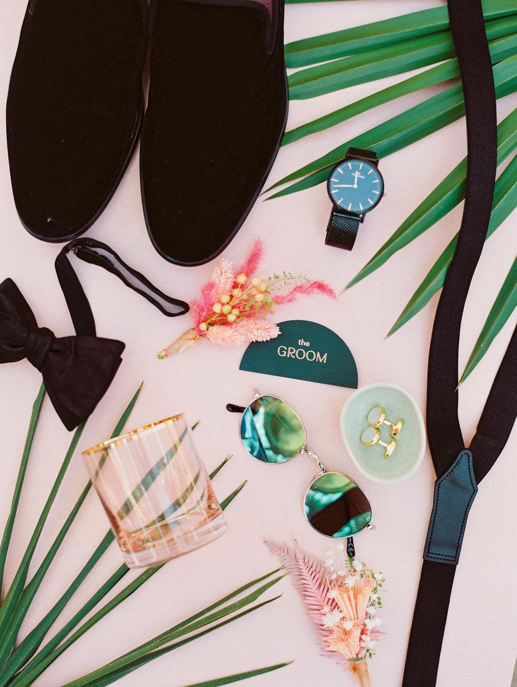 Groom flat lay tropical with black smoking slippers https://shopstyle.it/l/bhmxA
