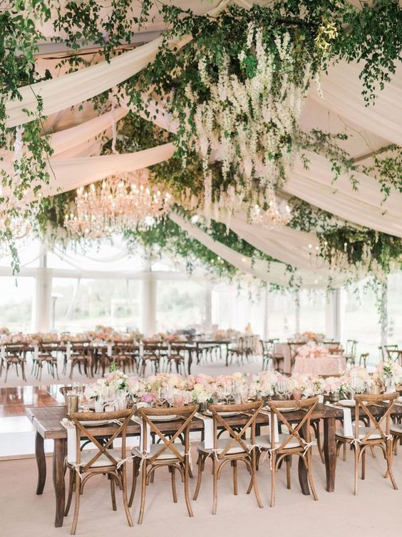 hanging lupines wedding decor, hanging wedding flower display with drapery https://shopstyle.it/l/bhb30