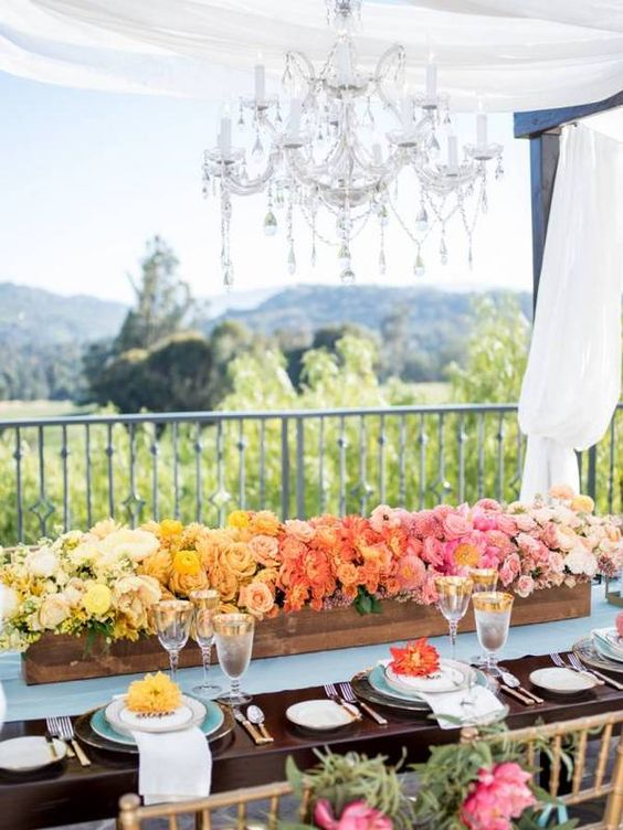 spring wedding table flower decor ideas, wedding flowers in a wood box, spring wedding reception flowers rustic planter boxes with flowers https://shopstyle.it/l/bhcmH