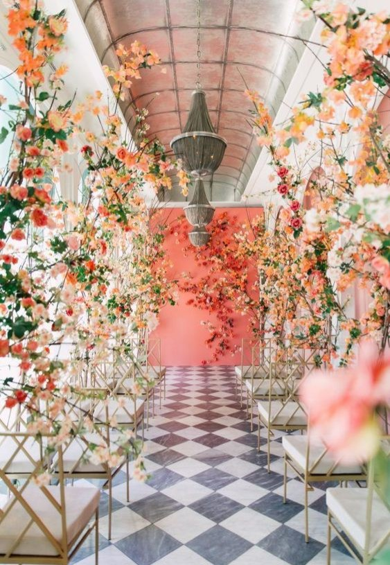 coral wedding flowers, coral wedding ceremony https://itgirlweddings.com/spring-wedding-inspiration-part-3/